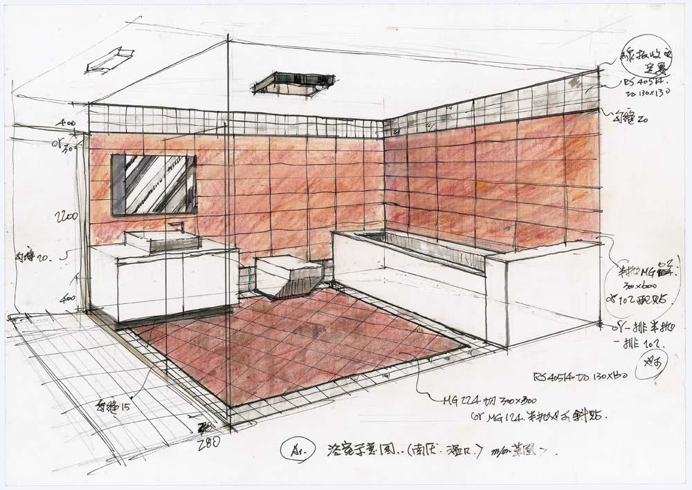 厨房两点透视图片
